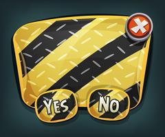Cartello di emergenza dei cartoni animati con pulsanti per il gioco dell'interfaccia utente