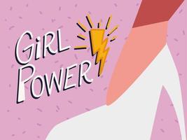 girl power, scritte e piede femminile con scarpa con tacco vettore