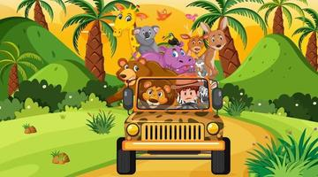 concetto di safari con animali selvatici nell'auto jeep vettore