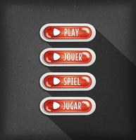 Gioca a pulsanti design in più lingue per Game Ui vettore