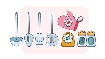 Vettore degli strumenti della cucina