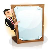 Cartone animato bianco uomo d'affari in possesso di un cartone