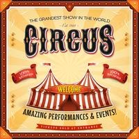 Poster quadrato del circo con cornice vettore