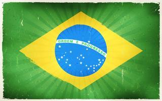 Priorità bassa del manifesto della bandierina del Brasile dell'annata