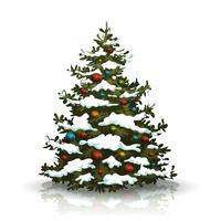 Albero di pino di Natale con neve e palle