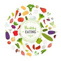 Sfondo di verdure e mangiare sano vettore