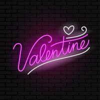 vettore di segno al neon di San Valentino