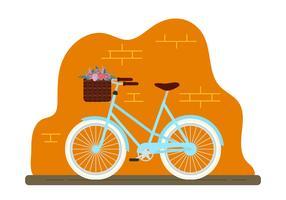Bicicletta con cesto di fiori vettore