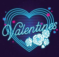 vettore di colore blu di San Valentino al neon