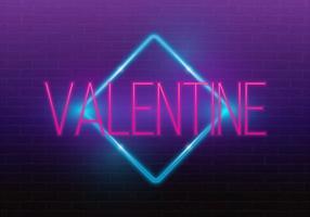 Buon San Valentino. Insegna al neon 3d Insegna al neon realistico Segno di amore Amore al neon