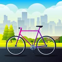 Mette in mostra la bicicletta della città su un'illustrazione di vettore della strada del parco