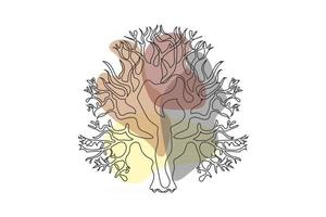 una linea di disegno vettoriale foglia di monstera e foglie di palma. arte moderna a linea singola, contorno estetico. perfetto per l'arredamento della casa come poster, wall art, tote bag o stampa t-shirt, adesivo, custodia per cellulare
