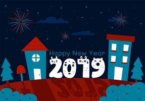 Felice anno nuovo 2019 disegno vettoriale
