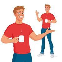 uomo sorridente con bevanda calda che presenta e mostra ok illustrazione vettoriale