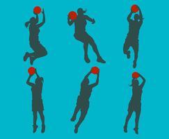 Siluetta femminile del giocatore di pallacanestro vettore