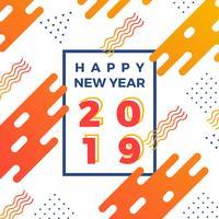Illustrazione astratta piana felice di vettore 2019 del nuovo anno