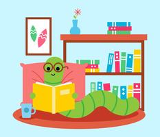 Bookworm con occhiali che leggono un libro