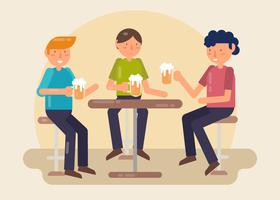 Ragazzi che bevono birra nel vettore di Bar