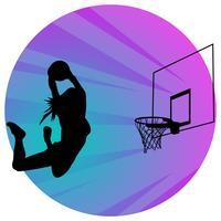silhouette di giocatore di pallacanestro femminile vettore