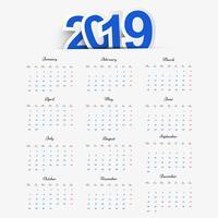Calendario 2019 modello di disegno vettoriale