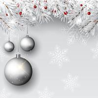 Palline di Natale su rami d'argento