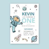 Carino Kid And Universe con pianeti Birthday Card vettore