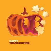 Papercraft Happy Thanksgiving Background con foglie e verdure autunnali vettore