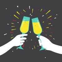 illustrazione vettoriale di champagne toast