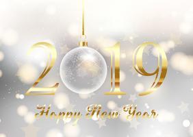 Oro e argento felice anno nuovo sfondo vettore
