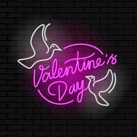 Vettore d'annata del segno al neon di Valentine Day