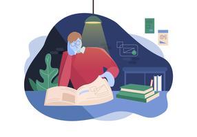 Il ragazzo gode dei libri di lettura nell'illustrazione di vettore della camera da letto