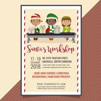 Poster di laboratorio di vettore di Babbo Natale