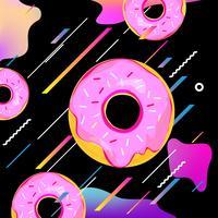 Priorità bassa multicolore fluido con l'illustrazione di vettore di ciambelle