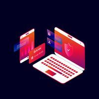 Progettazione isometrica online dell'illustrazione di vettore di 3d di pagamento mobile