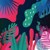 La giungla tropicale lascia la priorità bassa. Design colorato poster tropicale vettore