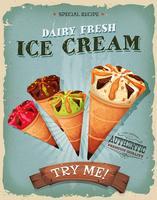 Poster di coni gelato vintage e grunge vettore