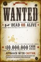 Poster vintage occidentale ricercato