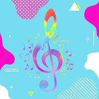 G-chiave variopinta con progettazione dell'illustrazione di vettore delle note di musica