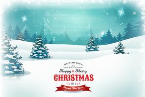 Natale vintage e paesaggio di Capodanno vettore
