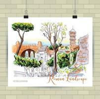 roma, rovine a roma, italia, illustrazione, disegnato a mano, schizzo vettore