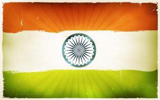 Priorità bassa del manifesto della bandierina dell'India dell'annata