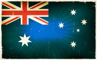 Priorità bassa del manifesto della bandierina dell'Australia dell'annata vettore