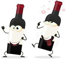 Felice e ubriaco personaggio bottiglia di vino rosso vettore