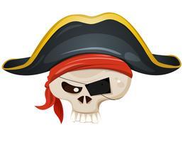 Testa di teschio pirata vettore