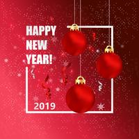 Illustrazione di vettore della cartolina d'auguri del nuovo anno