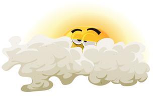 Cartone animato personaggio addormentato del sole vettore