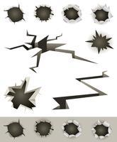 Set di fori, crepe e barre di proiettile