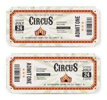 biglietti del circo anteriore e posteriore