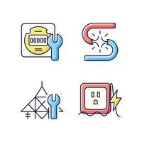 set di icone di colore rgb servizio elettricista. manutenzione del contatore di energia. corto circuito. riparazione della linea elettrica. illustrazioni vettoriali isolate. raccolta di disegni a linee pieni semplici in eccesso di tensione