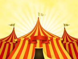 Priorità bassa del circo della grande parte superiore con la bandiera vettore